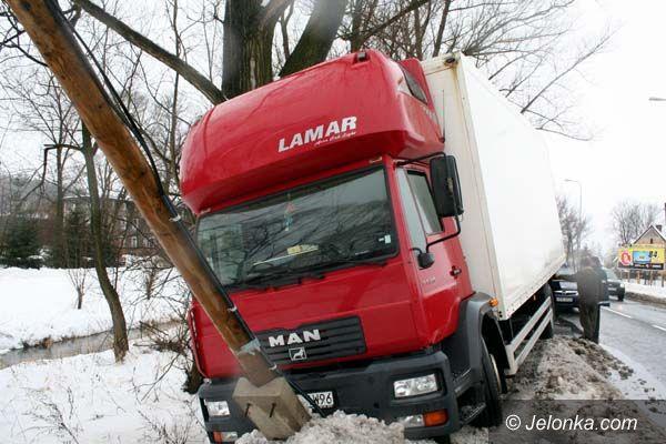 JELENIA GÓRA: Ciężarówką w słup