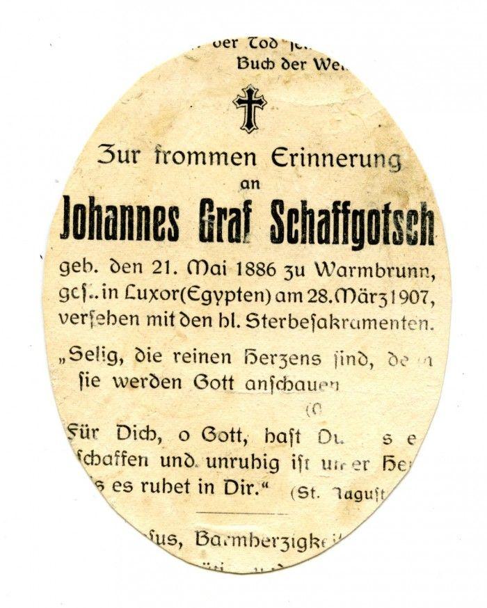 Nekrolog Johanna Ewangelisty Schaffgotscha