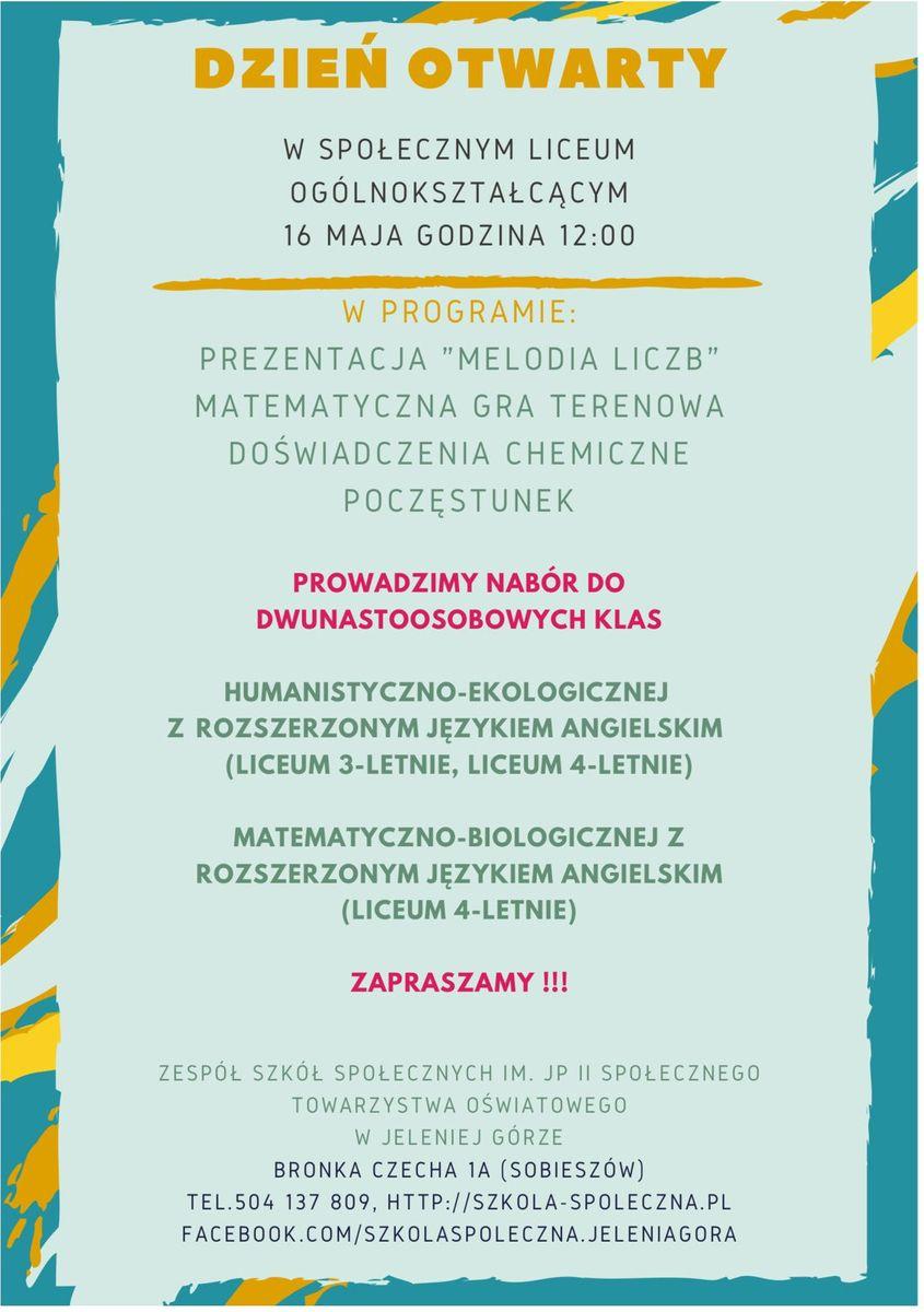 Jelenia Góra: Dzień otwarty w Liceum Społecznym STO – 16 maja (czwartek)