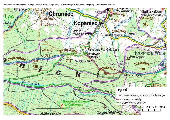 Kopaniec: Zamknięty szlak w rejonie Kopańca