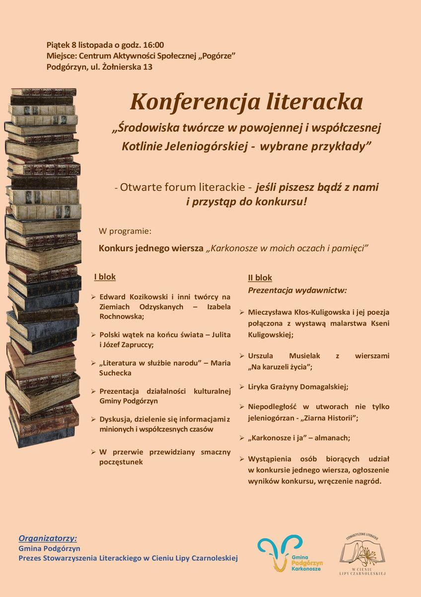 Podgórzyn: Konferencja literacka w piątek
