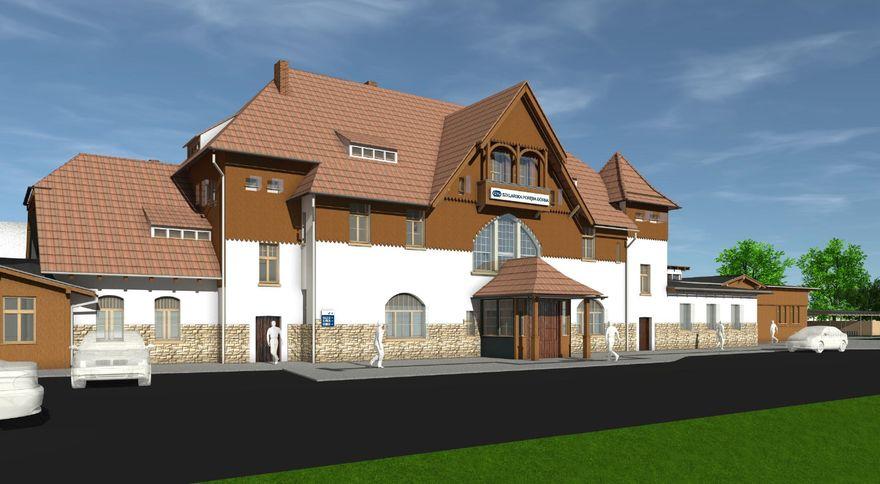 Szklarska Poręba: Dworzec tymczasowy w Szklarskiej Porębie