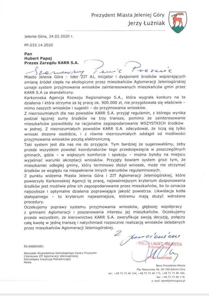 Jelenia Góra: Prezydent do KARR–u, KARR do prezydenta