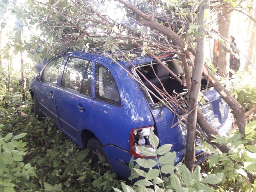 Mysłakowice: Auto wypadło z drogi