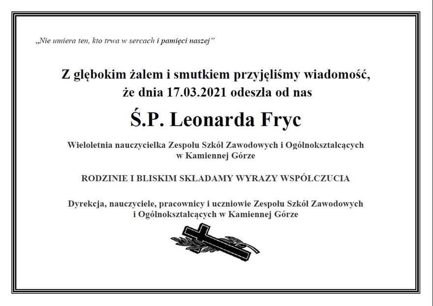 Kamienna Góra: Nie żyje Leonarda Fryc