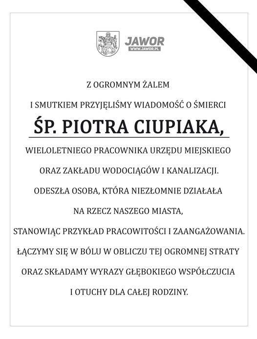 Jawor: Nie żyje Piotr Ciupiak