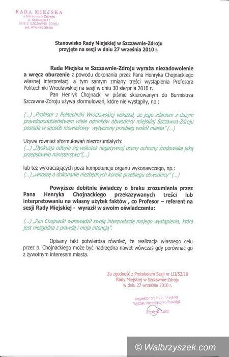 REGION, Szczawno-Zdrój: Stanowisko Rady Miejskiej Szczawna–Zdroju