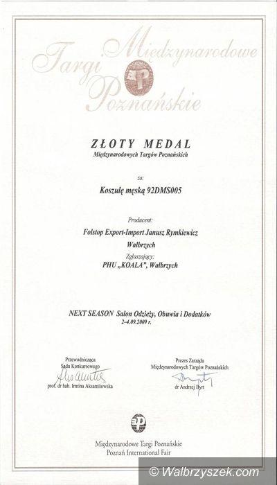 Wałbrzych/Poznań: Dwa Złote Medale MTP dla wałbrzyskiej firmy Folstop