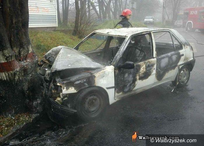 REGION, Szczawno-Zdrój: Płonący samochód w Szczawnie–Zdroju