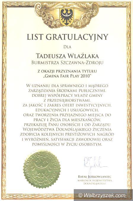 REGION, Szczawno-Zdrój: Szczawno–Zdrój uznane za gminę fair–play