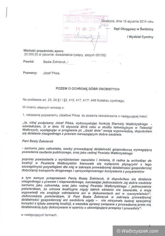 powiat wałbrzyski: Czy starosta Piksa przeprosi radną Żołnieruk?