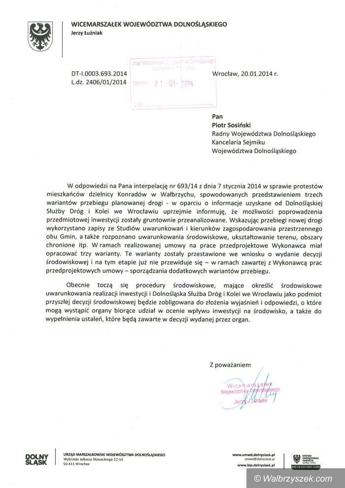 Wałbrzych: Piotr Sosiński szuka  alternatywy dotyczącej wariantów przebiegu tzw. obwodnicy Szczawna Zdroju i Białego Kamienia