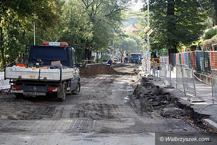 Wałbrzych: Trwają prace przy ulicy Niepodległości