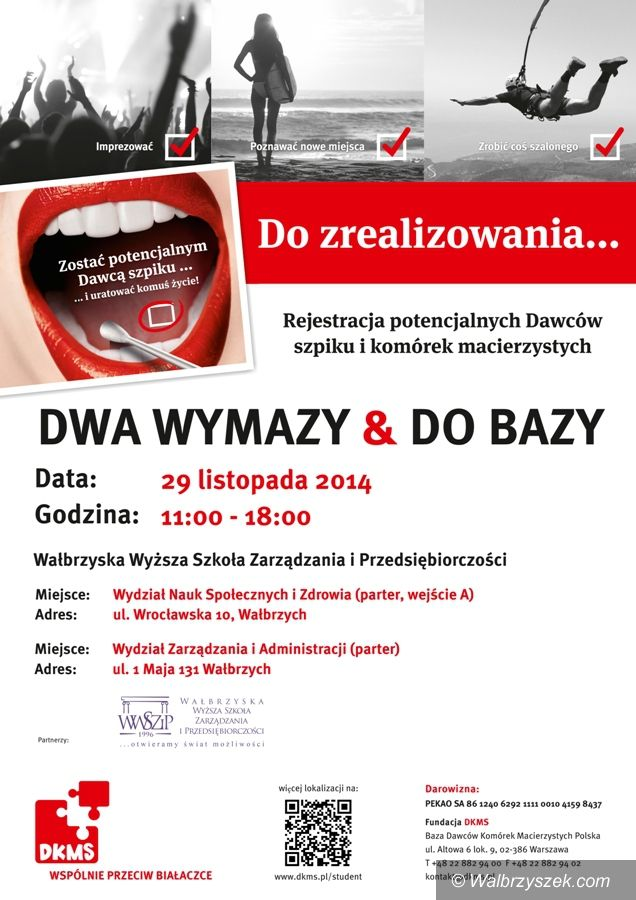 Wałbrzych: Już jutro akcja rejestracji dawców szpiku