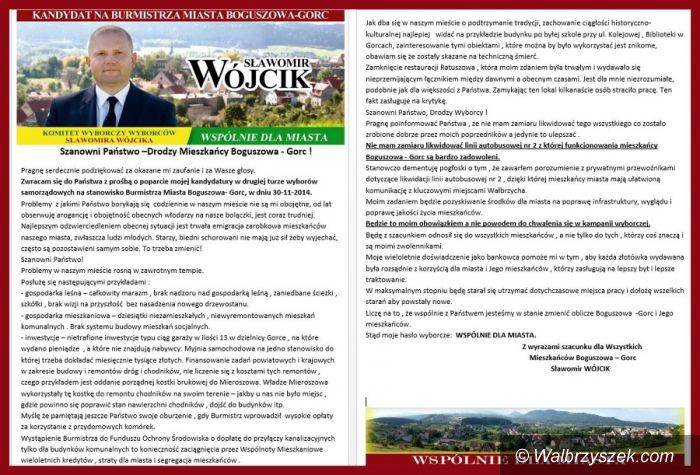 REGION, Boguszów-Gorce: Sławomir Wójcik – kandydat na burmistrza Boguszowa–Gorc – wydał oświadczenie