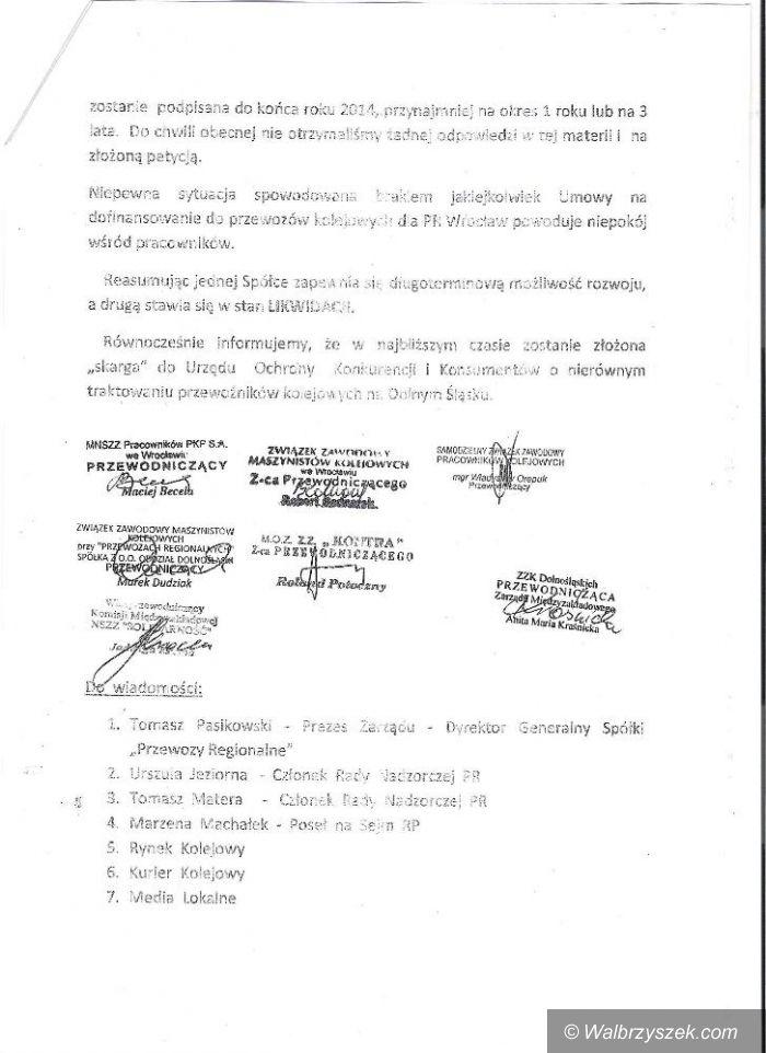 REGION: Związki zawodowe kolejarzy wystąpiły z petycją do Marszałka Województwa