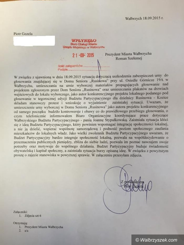 Wałbrzych: Mają zastrzeżenia do głosowania w ramach Wałbrzyskiego Budżetu Partycypacyjnego