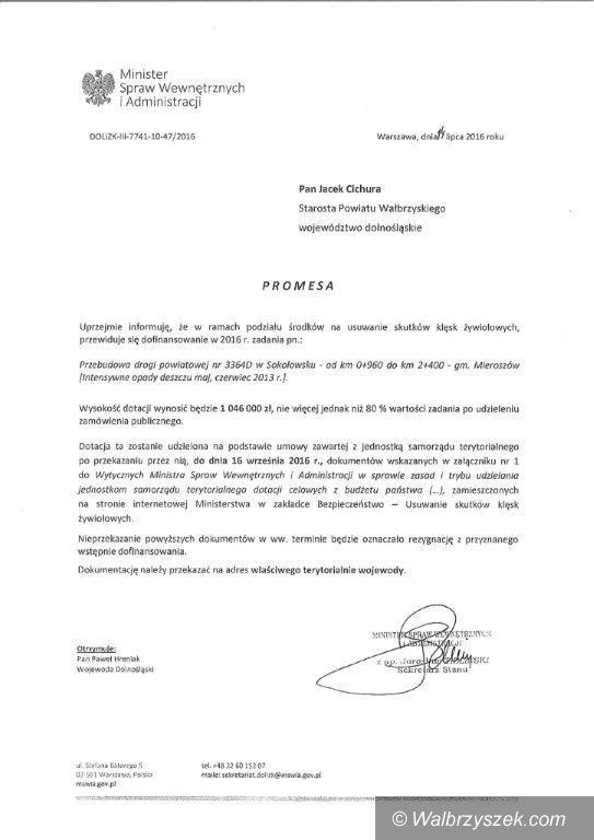 REGION, Sokołowsko: Minister dał pieniądze na remont drogi