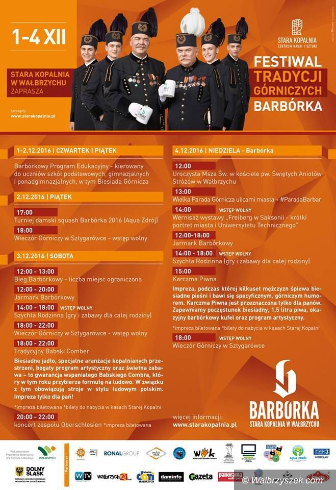 Wałbrzych: Festiwal Tradycji Górniczych Barbórka w Wałbrzychu bogaty w wydarzenia
