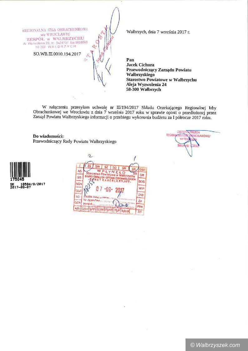 powiat wałbrzyski: Regionalna Izba Obrachunkowa pozytywnie ocenia pracę Zarządu Powiatu Wałbrzyskiego