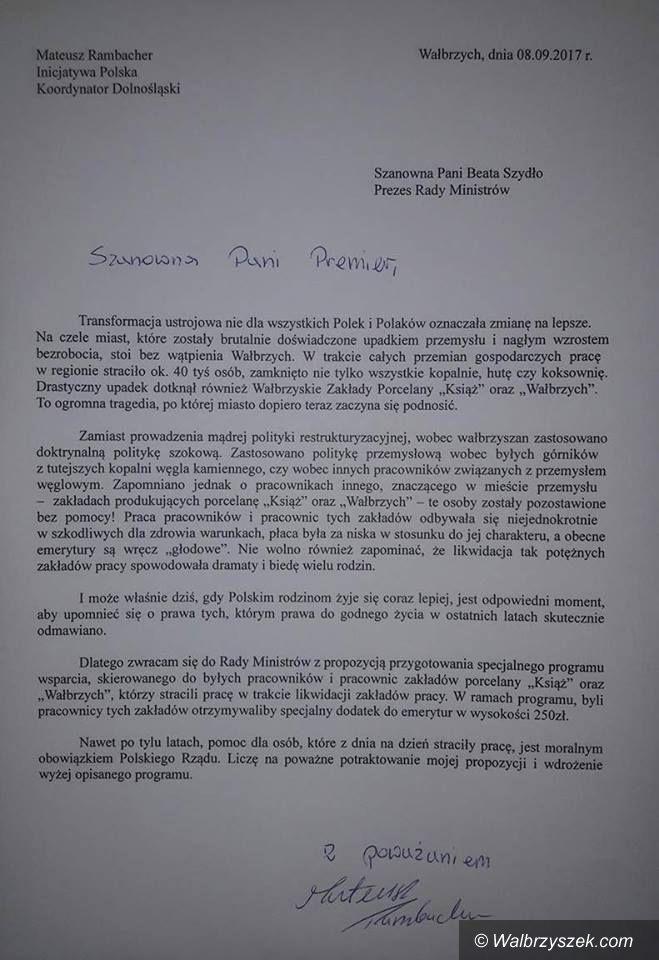 Wałbrzych: Inicjatywa Polska pisze do premier Beaty Szydło w sprawie pracowników wałbrzyskich zakładów porcelany