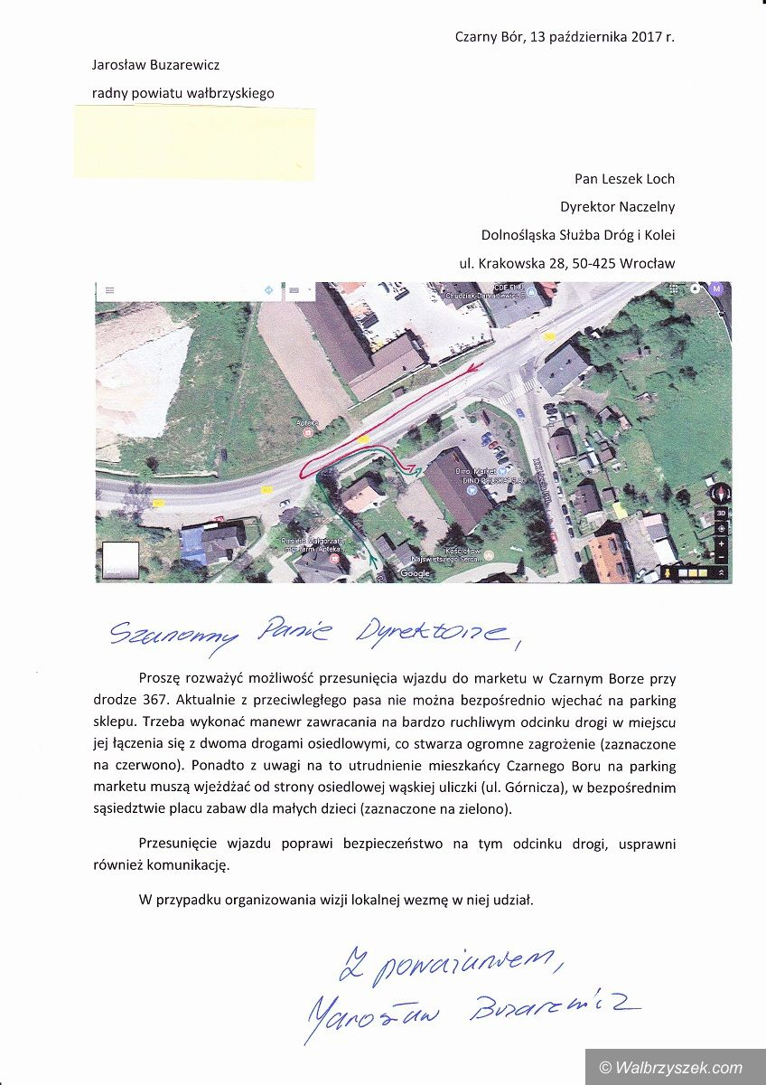 REGION, Czarny Bór: Czy przy okazji remontu drogi przebudują wjazd do marketu?