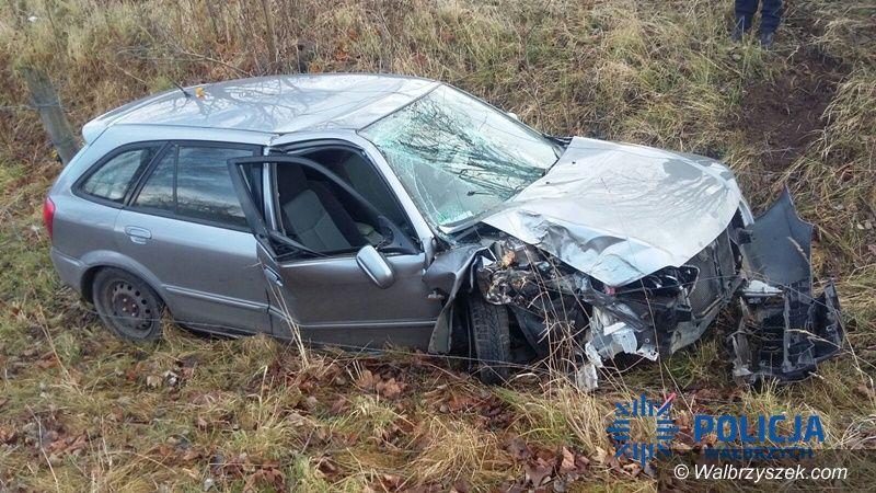 powiat wałbrzyski: Nietrzeźwy kierujący wjechał w drzewo, a następnie próbował oddalić się z miejsca zdarzenia
