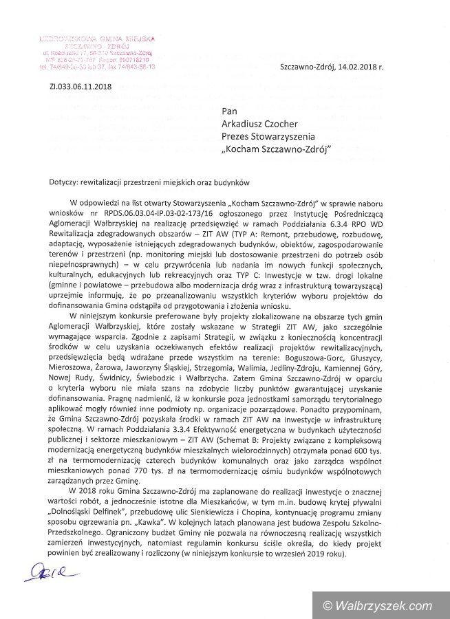 REGION, Szczawno-Zdrój: Burmistrz Marek Fedoruk odpowiada na pismo Stowarzyszenia Kocham Szczawno–Zdrój