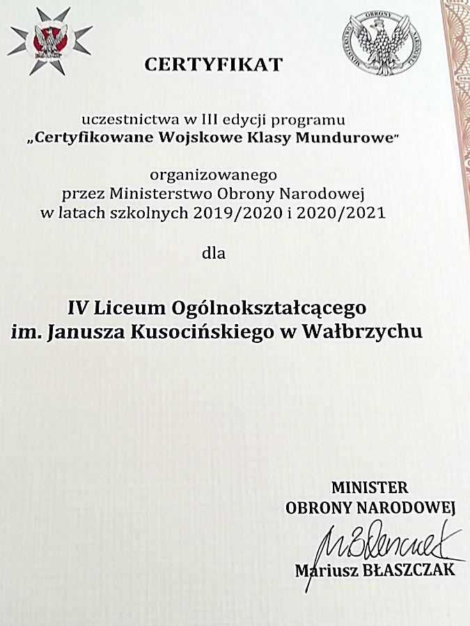 Wałbrzych: Certyfikowane Klasy Wojskowe w IV LO!