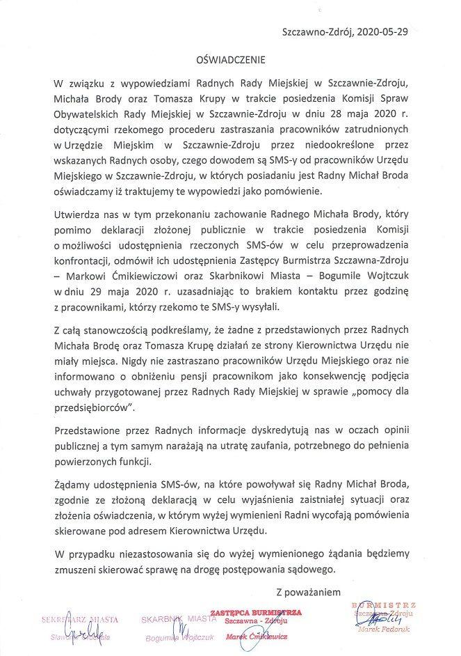 REGION, Szczawno-Zdrój: Oświadczenie burmistrza