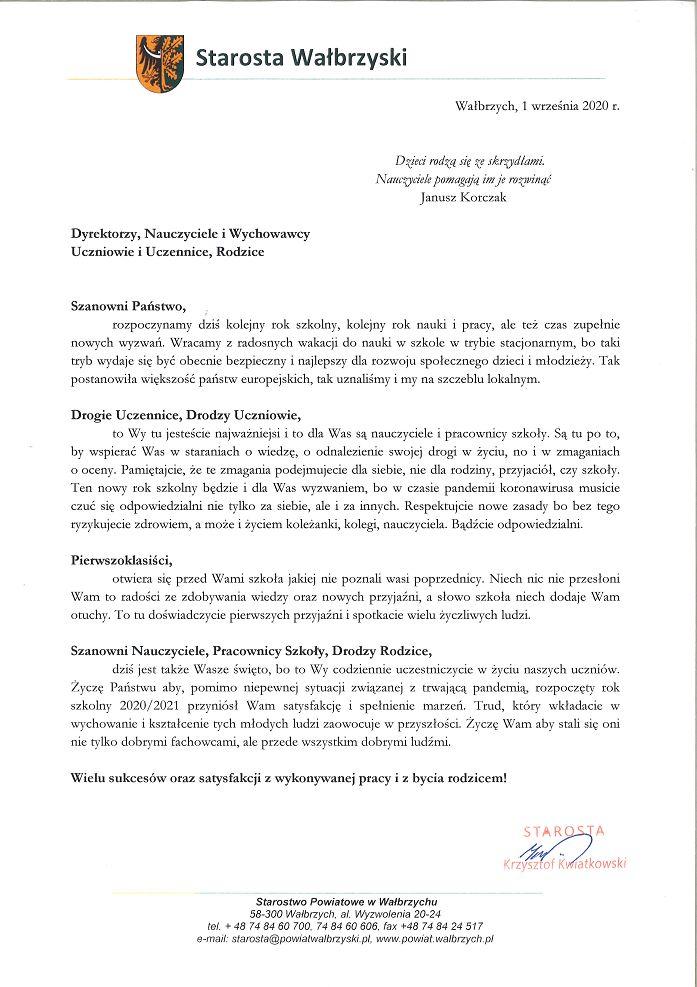 powiat wałbrzyski: List Starosty
