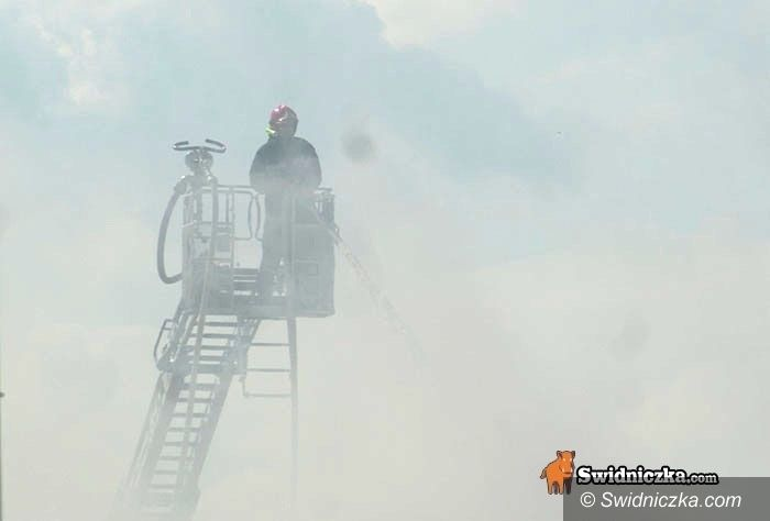 Świdnica: Ekipa dochodzeniowo–śledcza policji i strażacy pracują na miejscu czwartkowego pożaru