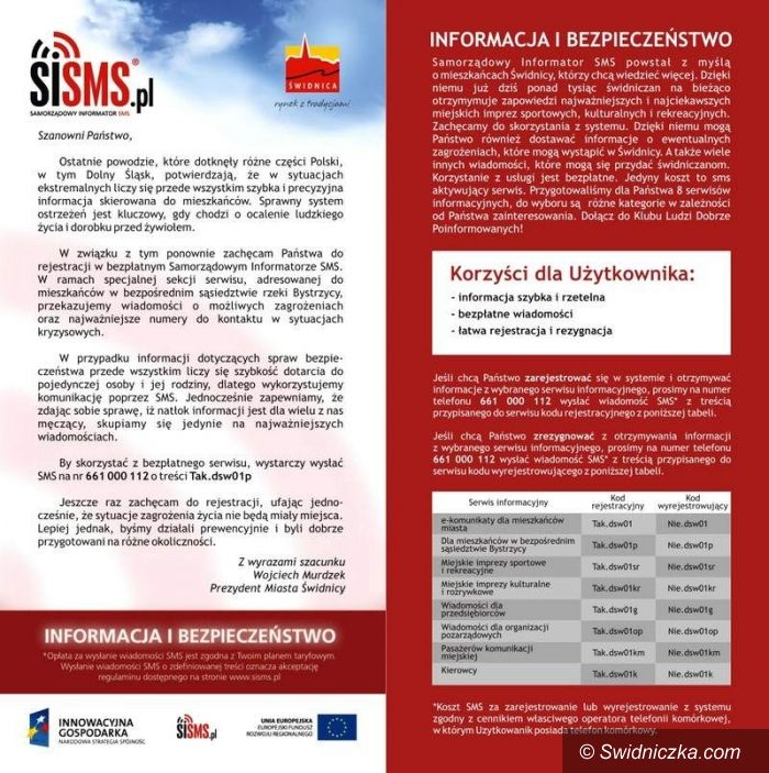 Świdnica: Zarejestruj się – za darmo będą Cię informować o zagrożeniach dla mieszkańców okolic Bystrzycy