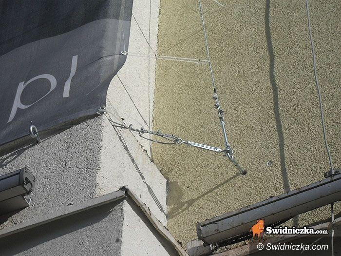 Świdnica: Baner prezydenta zakotwiczony na elewacji klubu Bolko