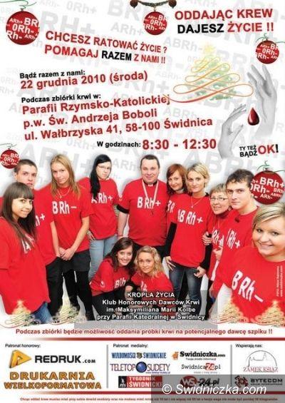 Świdnica: Przedświąteczna zbiórka krwi