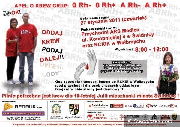 Świdnica/Wałbrzych: Dziesięcioletnia Julia liczy na świdnickich krwiodawców