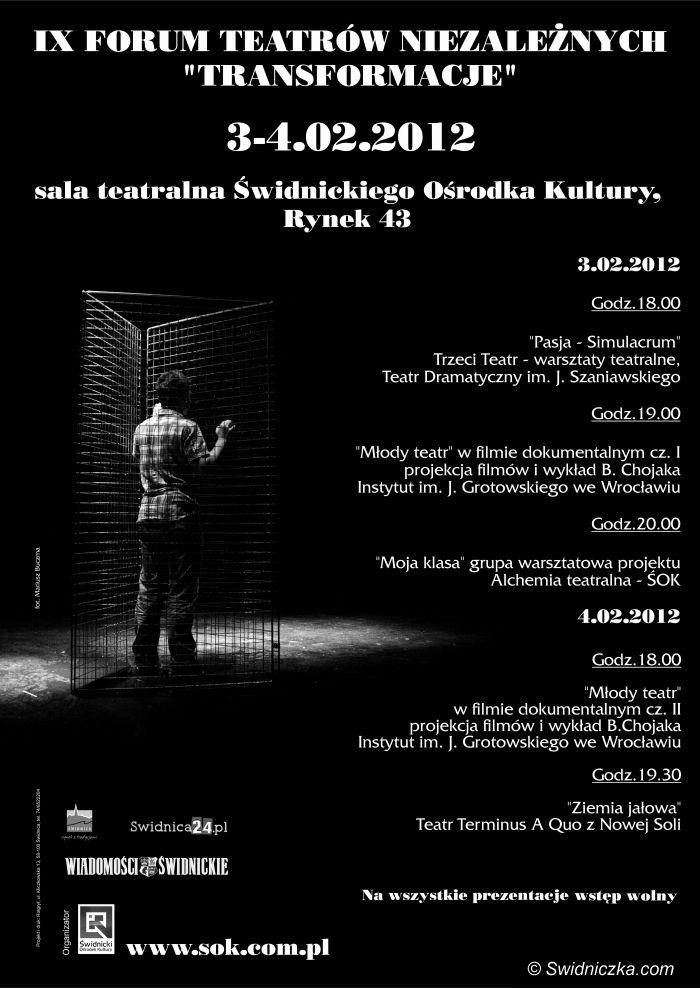 """Świdnica: Forum Teatrów Niezależnych """"Transformacje"""""""