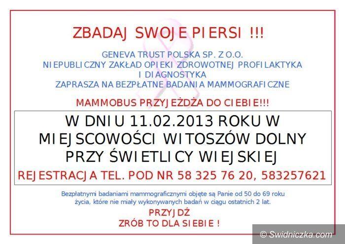 Witoszów Dolny: Bezpłatne badania mammograficzne