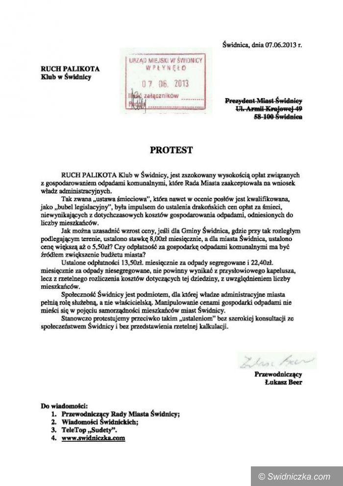 """Świdnica: Świdnicki Klub Ruchu Palikota protestuje przeciwko """"Ustawie Śmieciowej"""""""