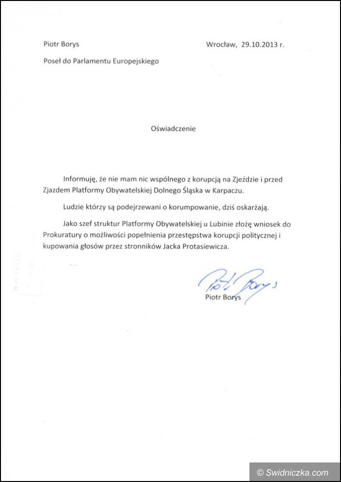 Kraj: Piotr Borys odcina się od korupcji