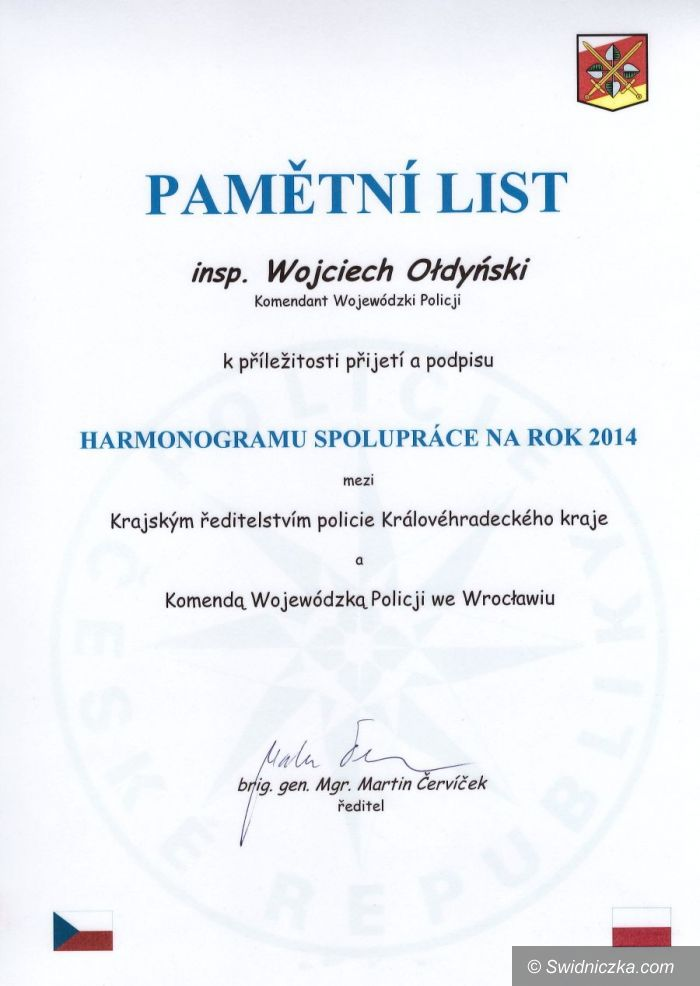Dolny Śląsk: Podpisanie harmonogramów polsko – czeskiej współpracy policyjnej