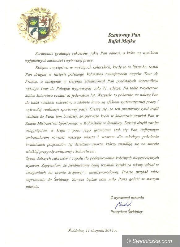 Świdnica: Prezydent Murdzek składa gratulacje Rafałowi Majce