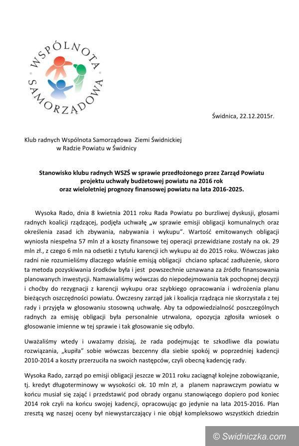 Świdnica: Stanowisko WSZŚ w sprawie budżetu powiatu na 2016 i WPF