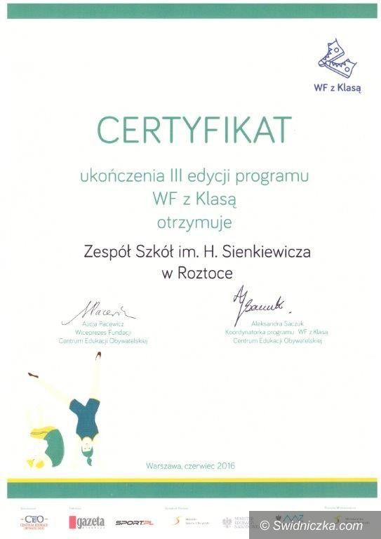 Roztoka: Certyfikat WF z Klasą dla Roztoki