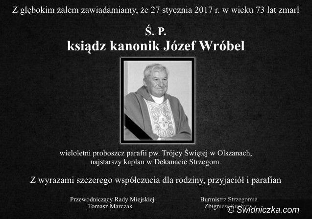 Olszany: Zmarł ksiądz kanonik Józef wróbel