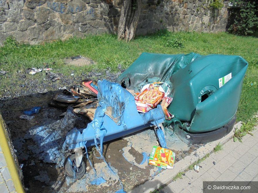 Świebodzice: Wandale spalili pojemniki na odpady