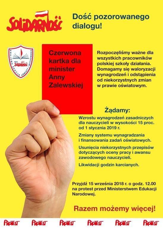 Kraj: Oświatowa Solidarność daje czerwoną kartkę Minister Anni Zalewskiej