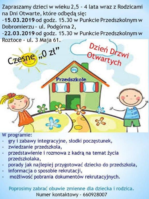 Gmina Dobromierz: Dni Otwarte w przedszkolach w Dobromierzu i Roztoce