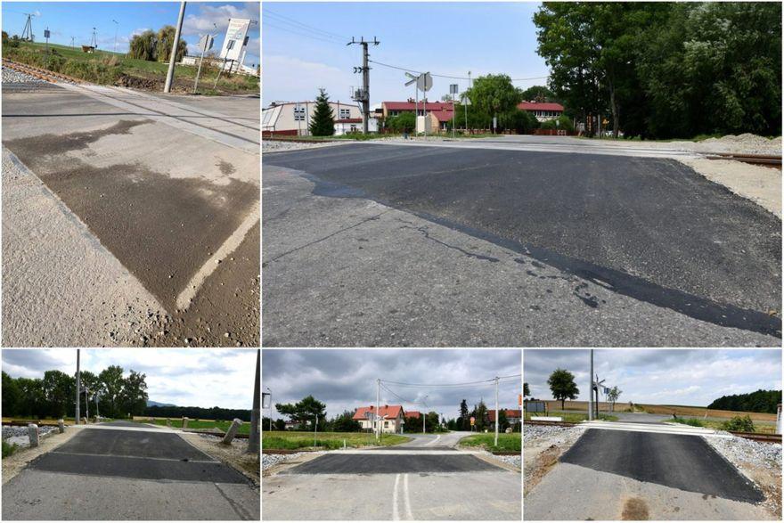 Gmina Marcinowice: Asfalt przy przejazdach