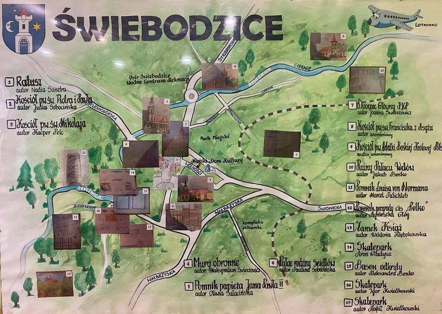 Świebodzice: Rysunkowa mapa